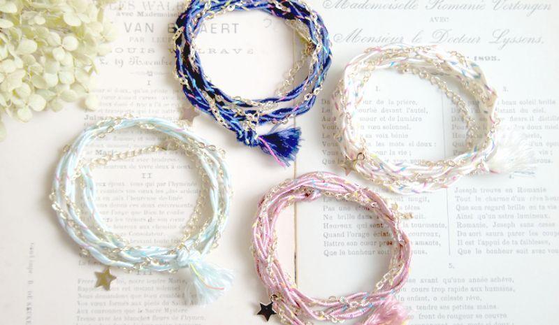 画像1: 2WAYチェーンと紐と星のブレス&ネックレス(4色)